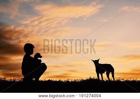 Silhouette boy playing with little dog on the sky sunset color of vintage tone