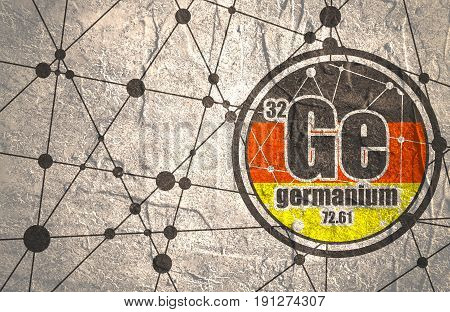 Germanium chemical element. Sign with atomic number and atomic weight. Chemical element of periodic table. Connected lines with dots. Flag of Germany. Concrete grunge texture