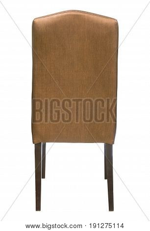 Back View Of Fabric Chair Isolated On White With Clipping Path