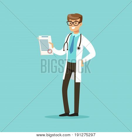 Smiling doctor character standing and holding medical notepad with prescription vector Illustration on a light blue background