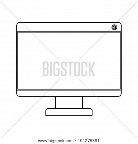 white background with monochrome silhouette of lcd monitor vector illustration
