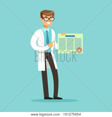 Smiling male doctor character standing and holding medical prescription vector Illustration on a light blue background