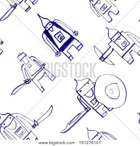 Hero Seamless Pattern. Mesmeric Child's Drawing With School Pen. Cute Hero Hand Drawn With Blue Ink