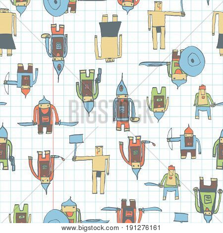 Hero Seamless Pattern. Glamorous Child's Drawing With School Pen. Cute Hero Hand Drawn With Color On