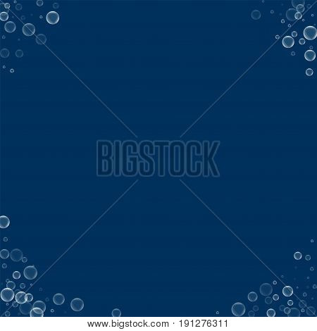 Soap Bubbles. Corners With Soap Bubbles On Deep Blue Background. Vector Illustration.