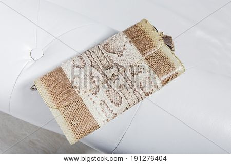 Small print clutch on exit for women