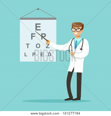 Smiling oculist or ophthalmologist doctor character pointing at the examination text vector Illustration on a light blue background