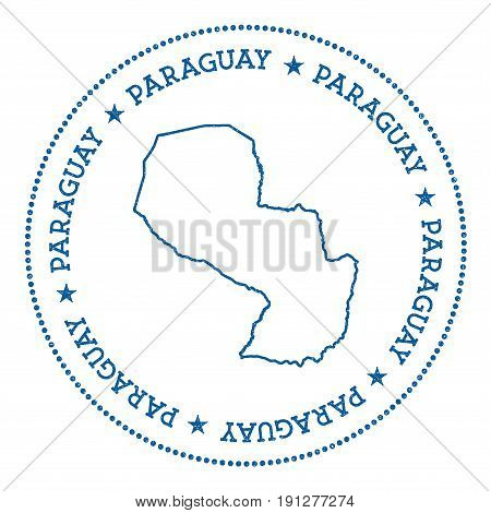 Paraguay Vector Map Sticker. Hipster And Retro Style Badge With Paraguay Map. Minimalistic Insignia