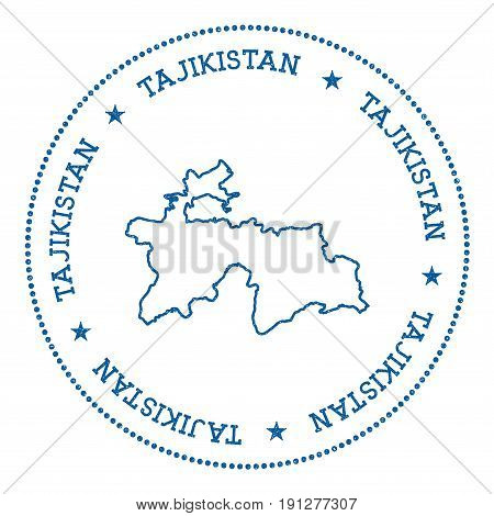 Tajikistan Vector Map Sticker. Hipster And Retro Style Badge With Tajikistan Map. Minimalistic Insig