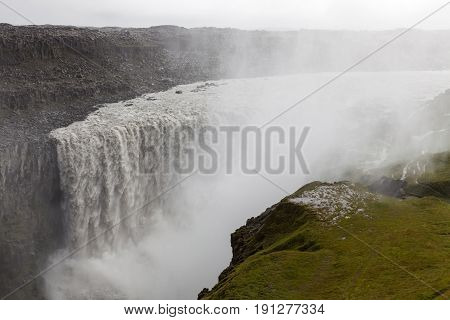 Tremendous Dettifoss Waterfall In Vatnajokull National Park In Northeast Iceland. Most Powerful Wate