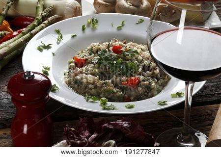 Risotto with meat and red wine