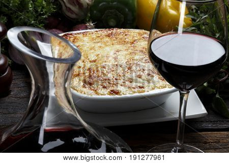 Roasted lasagna andred wine