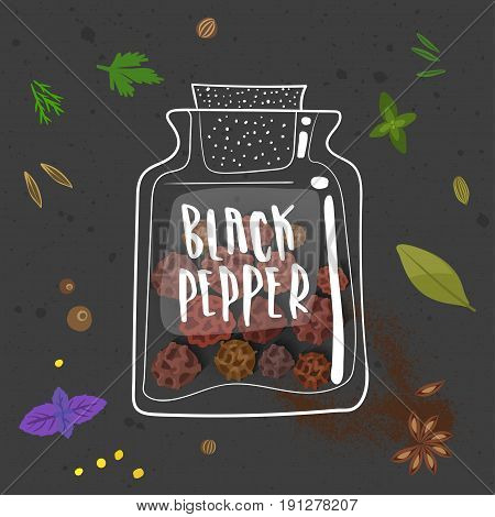 Vector illustration of black pepper. Realistic peppercorn in a stylized hand-drawn white bank with lettering on black background with other seasonings.