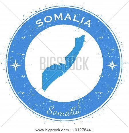 Somalia Circular Patriotic Badge. Grunge Rubber Stamp With National Flag, Map And The Somalia Writte