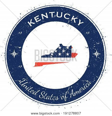 Kentucky Circular Patriotic Badge. Grunge Rubber Stamp With Usa State Flag, Map And The Kentucky Wri