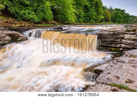 Lower Aysgarth Falls - Aysgarth Falls consist of three main falls lower middle and upper falls. They are spread over a mile of the River Ure in Wensleydale