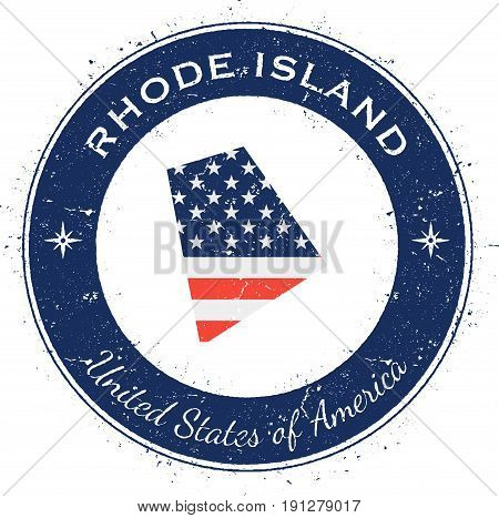 Rhode Island Circular Patriotic Badge. Grunge Rubber Stamp With Usa State Flag, Map And The Rhode Is