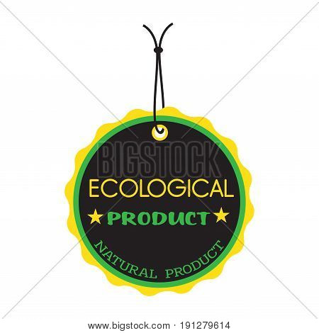 Isolated tag with the text ecological product written on the tag