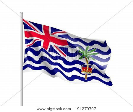 Waving flag of British India Ocean Territory. Illustration of Asian country flag on flagpole. Vector 3d icon isolated on white background