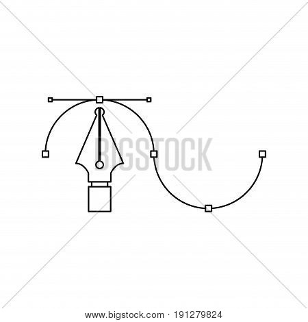 white background with monochrome silhouette of fountain pen graphic tool vector illustration