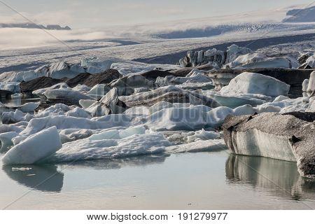 Jokulsarlon lagoon - Iceland. Famous lake. Travel destination for tourists next to Vatnajokull glacier.