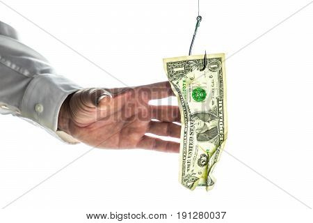 One dollar banknote hanging on the fishing hook