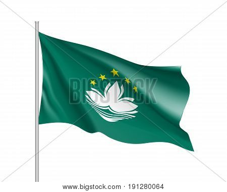 Waving flag of Macau. Illustration of Asian country flag on flagpole. Vector 3d icon isolated on white background