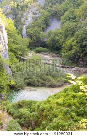 Aerial view on Plitvice lakes landscape. Croatia.