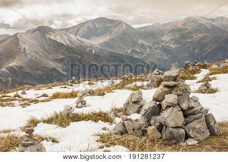 Rocks tower on Malolaczniak top - Tatras Mountains. Autumn day.