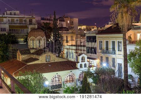 ATHENS, GREECE - JANUARY 19 2017:  Night photo of Agia Aikaterini Church in Athens, Attica, Greece