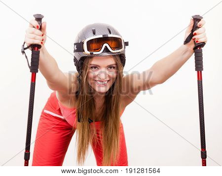 Ready To Ride Woman Wearing Ski Suit Holding Poles