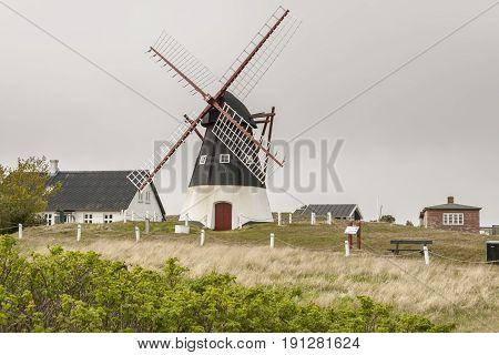 Windmill on the Mando island in the Wadden Sea Park of Denmark Europe.