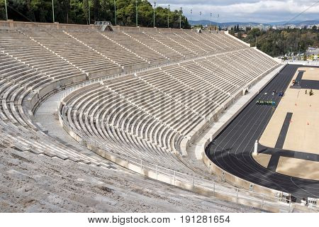 ATHENS, GREECE - JANUARY 20 2017:  Panathenaic stadium or kallimarmaro in Athens,  Attica, Greece