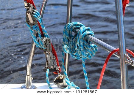 Ropes and fixing arrangements on a sailboat. Sailboat detail