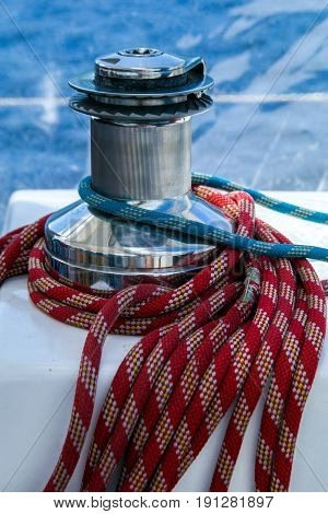 Sailboat winch and rope detail on yacht. Yachting.Sailboat detail
