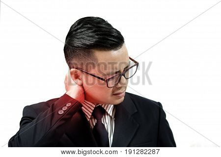 Asian business people are suffering from neck pain and fatigue.