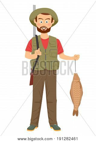 Happy hunter with shotgun and fish in hand over white background