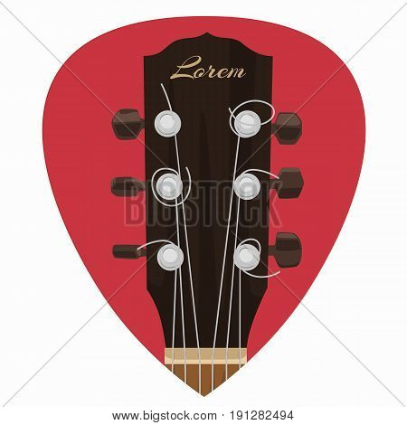 Guitar neck icon in a mediator form