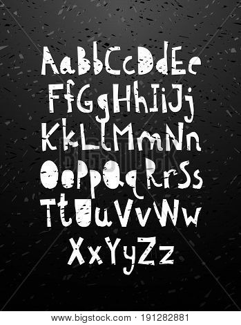 Hand cut chalk calligraphy lettering alphabet on blackboard. Graphic stylish letters font for card, t-shirt, brochure, flyer, prints, posters or photography overlay. Vector illustration stock vector