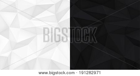 Low polygon shapes, black and white background, light and dark crystals, triangles mosaic, creative origami wallpaper, templates vector design