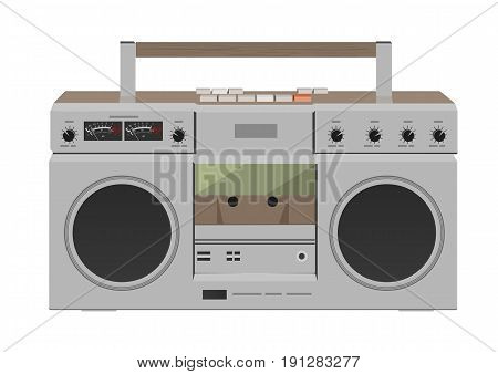 Stereo radio cassette recorder. Flat desing over white background