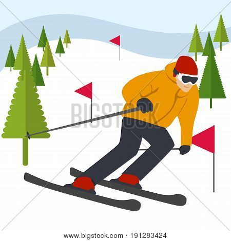 Mountain skier slides from the mountain with coniferous trees and flags
