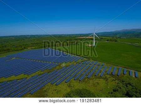 Solar Panel Power Plant Aerial in rural england