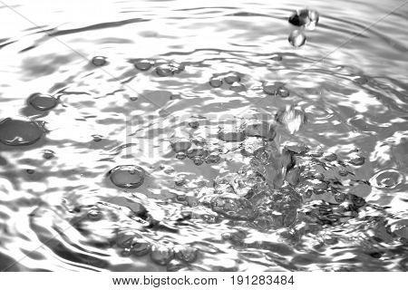 Liquid silver metal abstract water drops waves and ripples