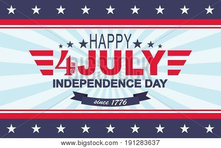 Happy 4th of July background. USA Independence Day. Template for Fourth of July. Vector illustration.