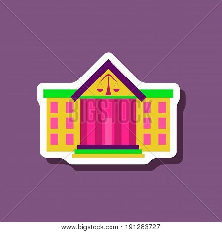 paper sticker on stylish background courthouse construction