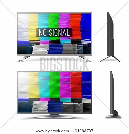 Distorted Glitch TV. Digilal No signal. Glitch Art Show Static Error. Vector Abstract Background. Introduction And The End Of The TV Programming