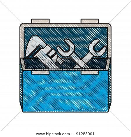 colored crayon silhouette of opened plumbing toolbox vector illustration
