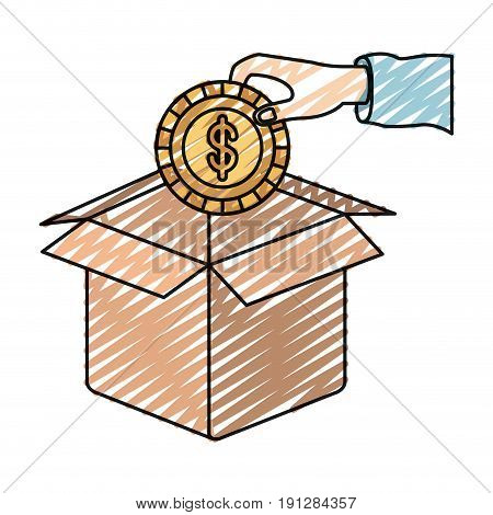 color crayon silhouette hand holding a coin with dollar symbol inside to deposit in cardboard box vector illustration