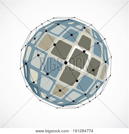 Abstract vector low poly object with black lines and dots connected. Grayscale 3d futuristic globe with overlapping lines mesh and squares.